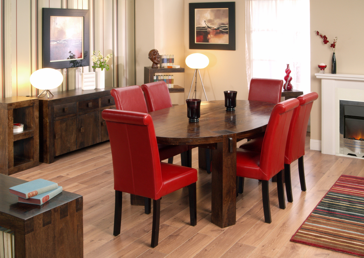 Adorable Bright Red Leather Dining Chairs