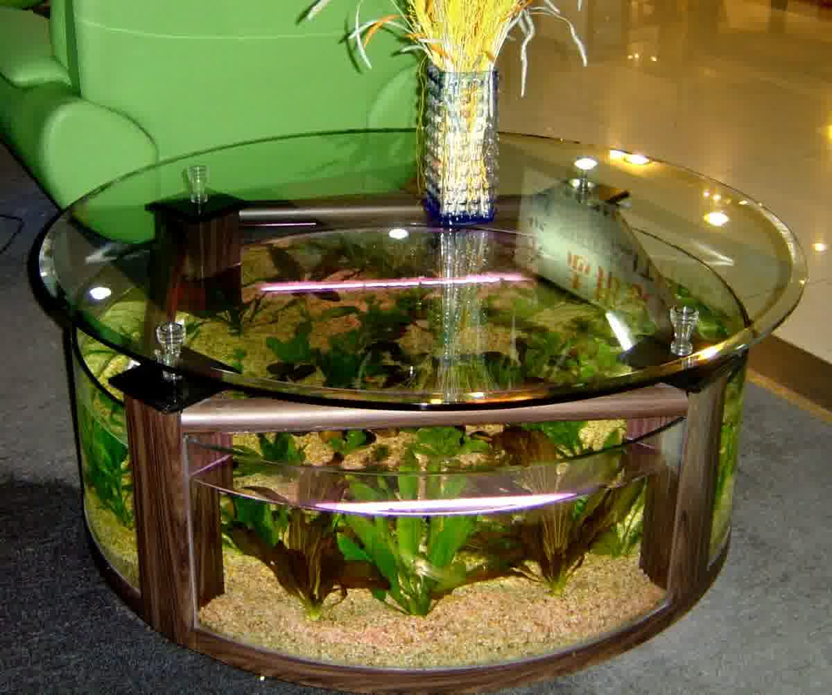 Aquarium Design With Round Table Ideas In Living Room