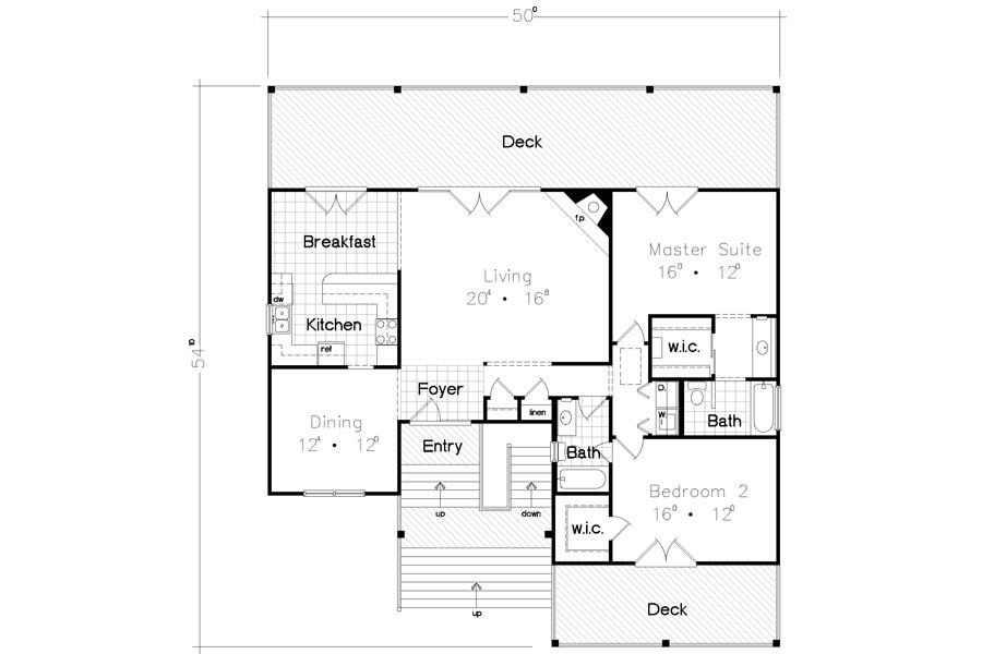 Beach Bungalow House Plan (Image 1 of 10)