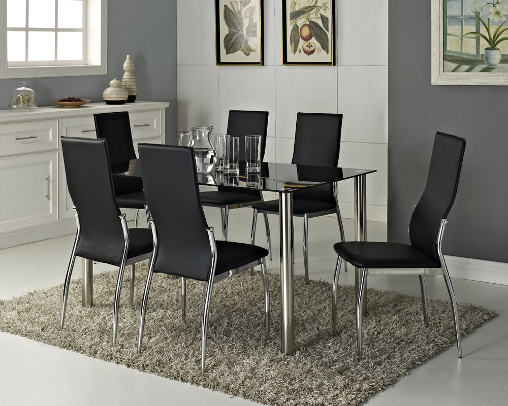 Black Glass Dining Table Set (View 6 of 10)