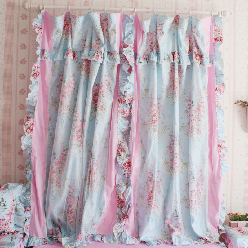 Blue Rose Ruffle Curtain (Image 2 of 10)