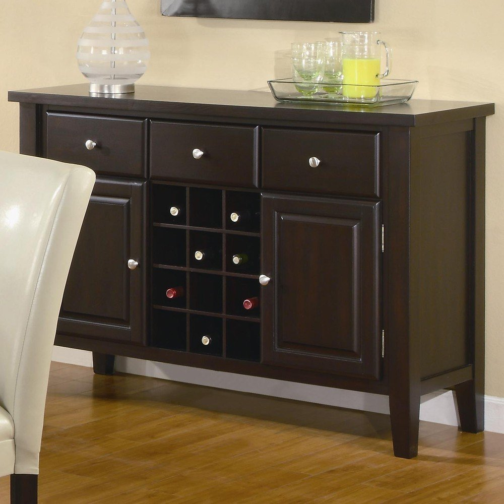 Coaster Carter Buffet Style Server In Dark Brown Wood Finish (Image 4 of 10)
