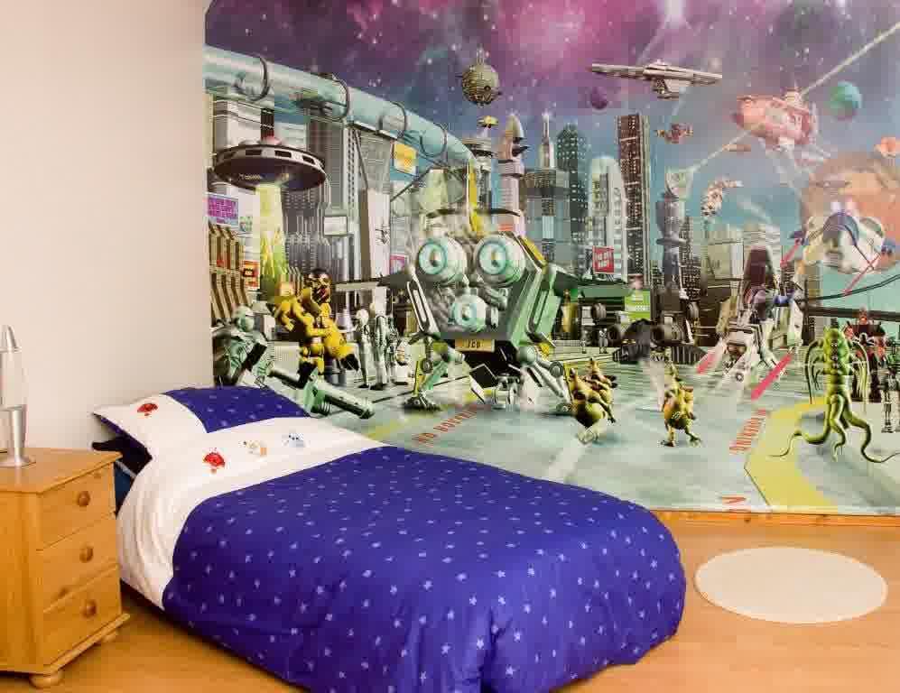 Creative Kids Bedroom Wallpaper (Image 2 of 10)