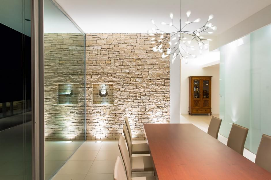 Catchy Ideas For Stone Wall Dining Room | Custom Home Design