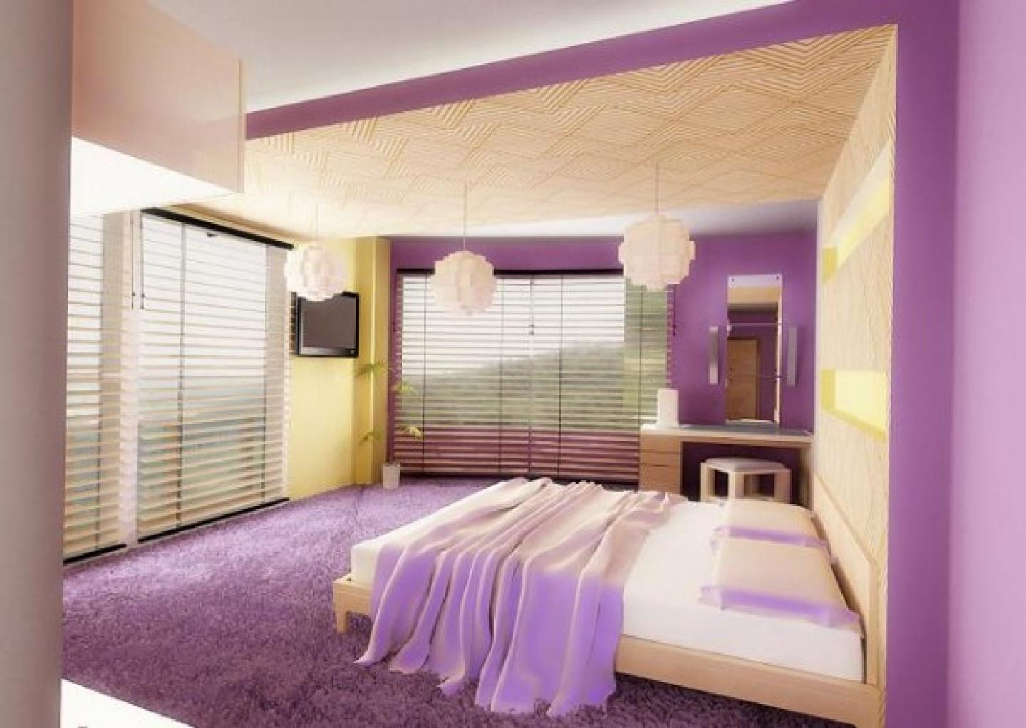 Enchanting Modern Bedroom Purple (Image 3 of 10)