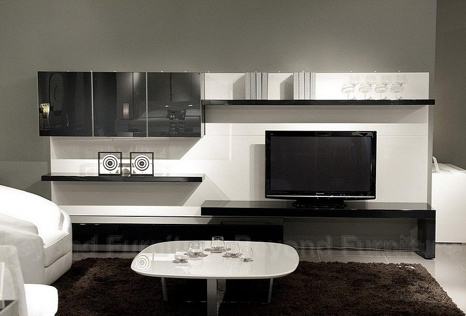 Fabulous White Living Room With Cool Lcd Tv Cabinet