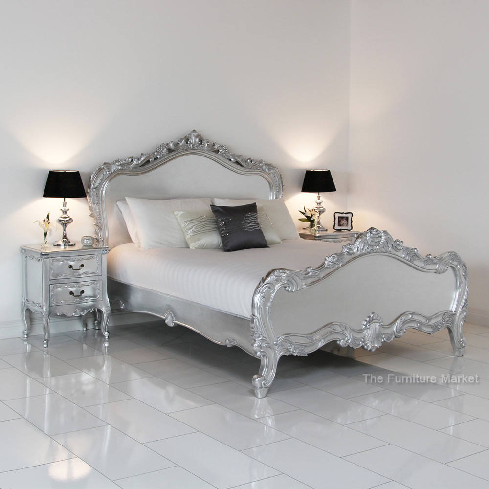 French Silver Leaf Bed (Image 4 of 10)