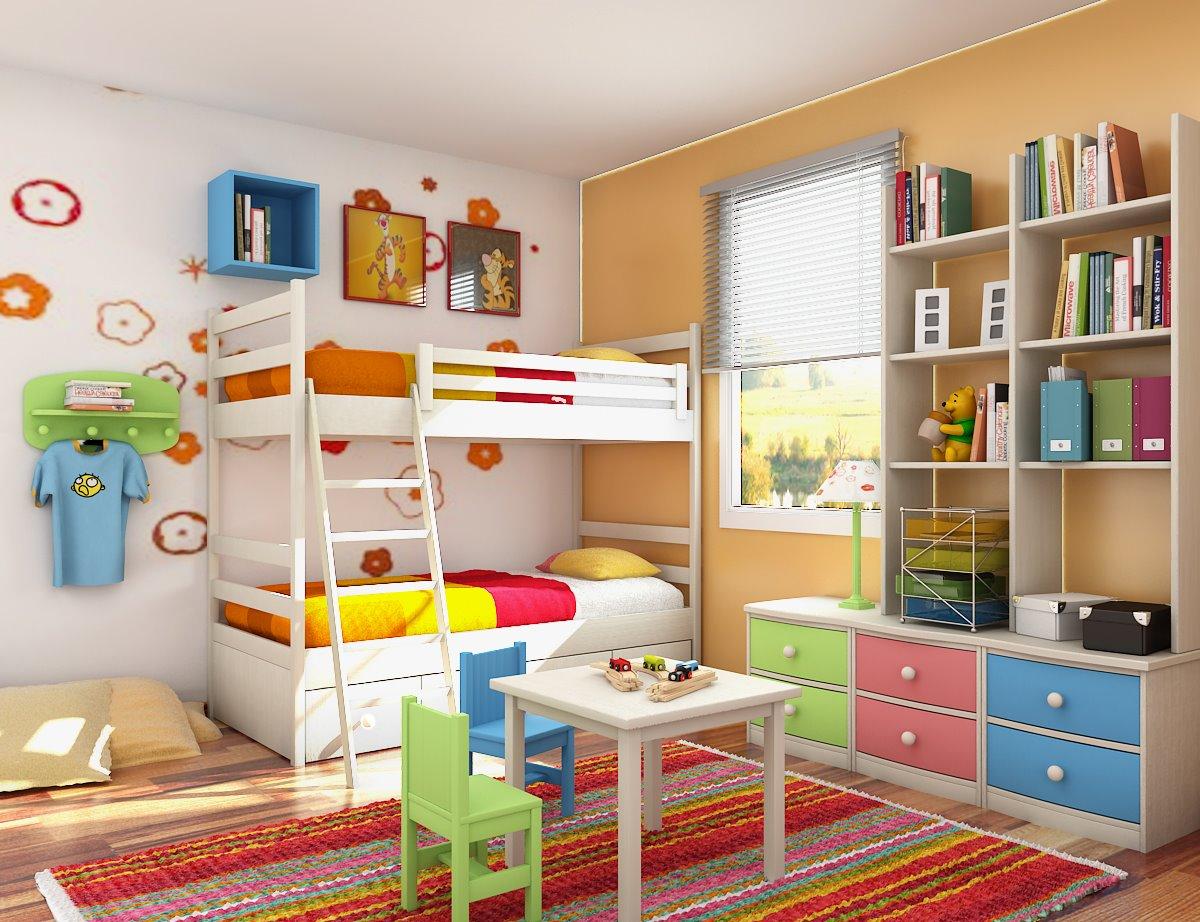 Full Color Kids Bedroom Design