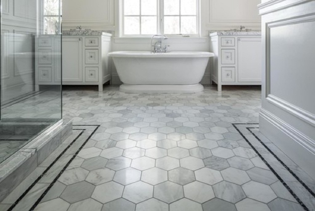 Gray tile in bathroom set