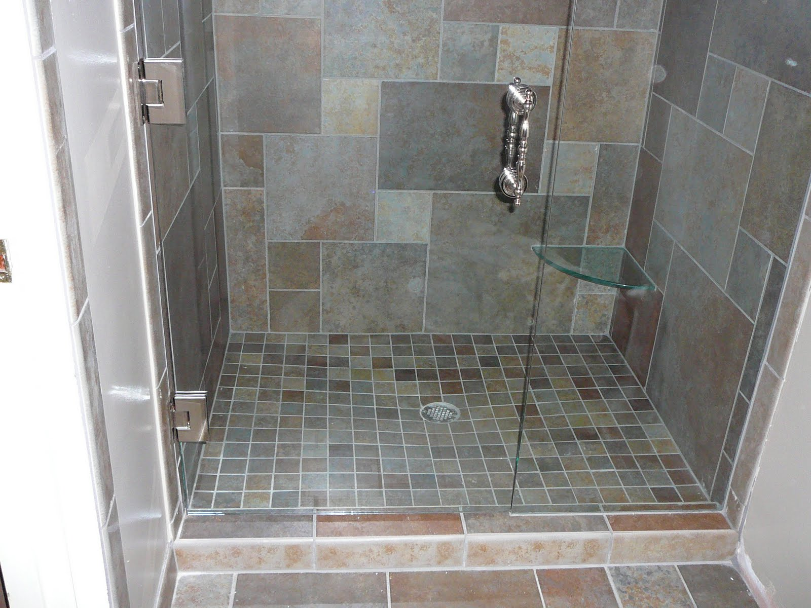 Gray tile in bathroom