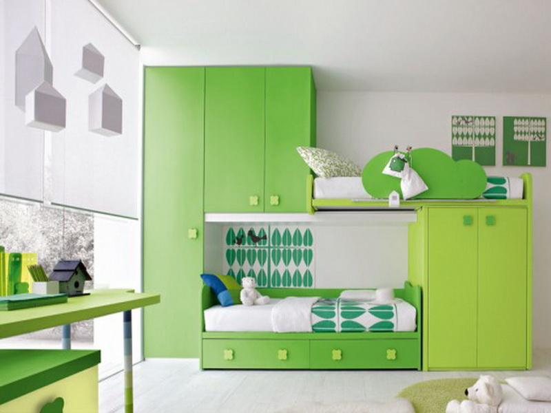 Green And White Combination Paint A Bedroom Design (Image 5 of 10)