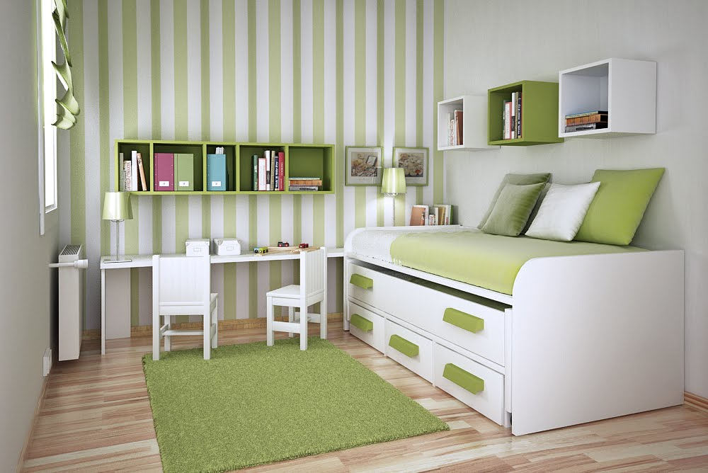 green bedroom children minimalist image 5 of 10 - Kids Room Design Ideas