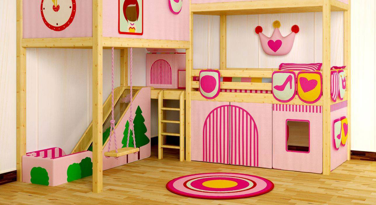 Intractive Bedroom for Twin Girls Decoration Sets and Furniture