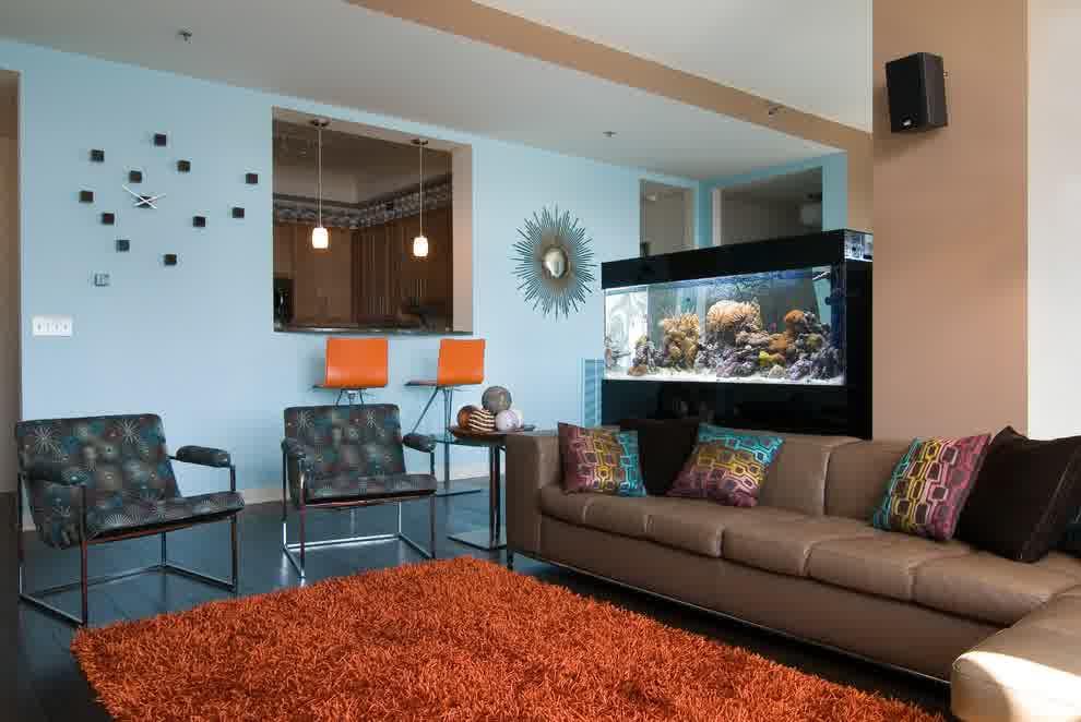 Anti Stress Aquariums In Living Room Custom Home Design