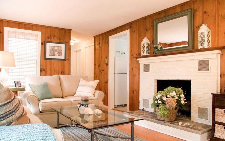 Knotty Pine Paneling for Modern Living Room