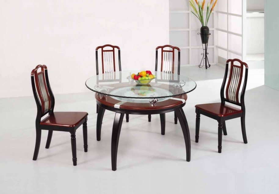 Glass Wood Dining Table Round dining table designs in wood and glass | custom home design