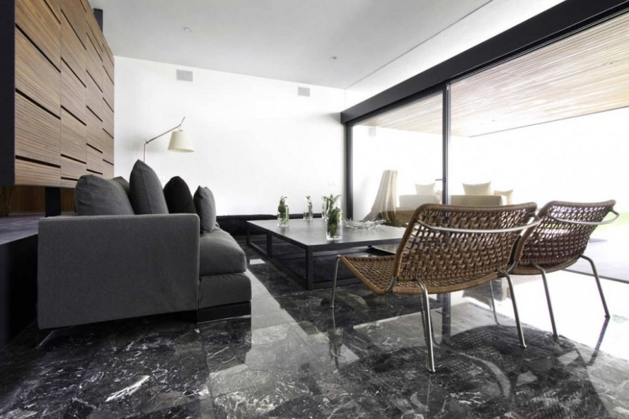 Exotic dark marble floor living room custom home design Black tile flooring modern living room