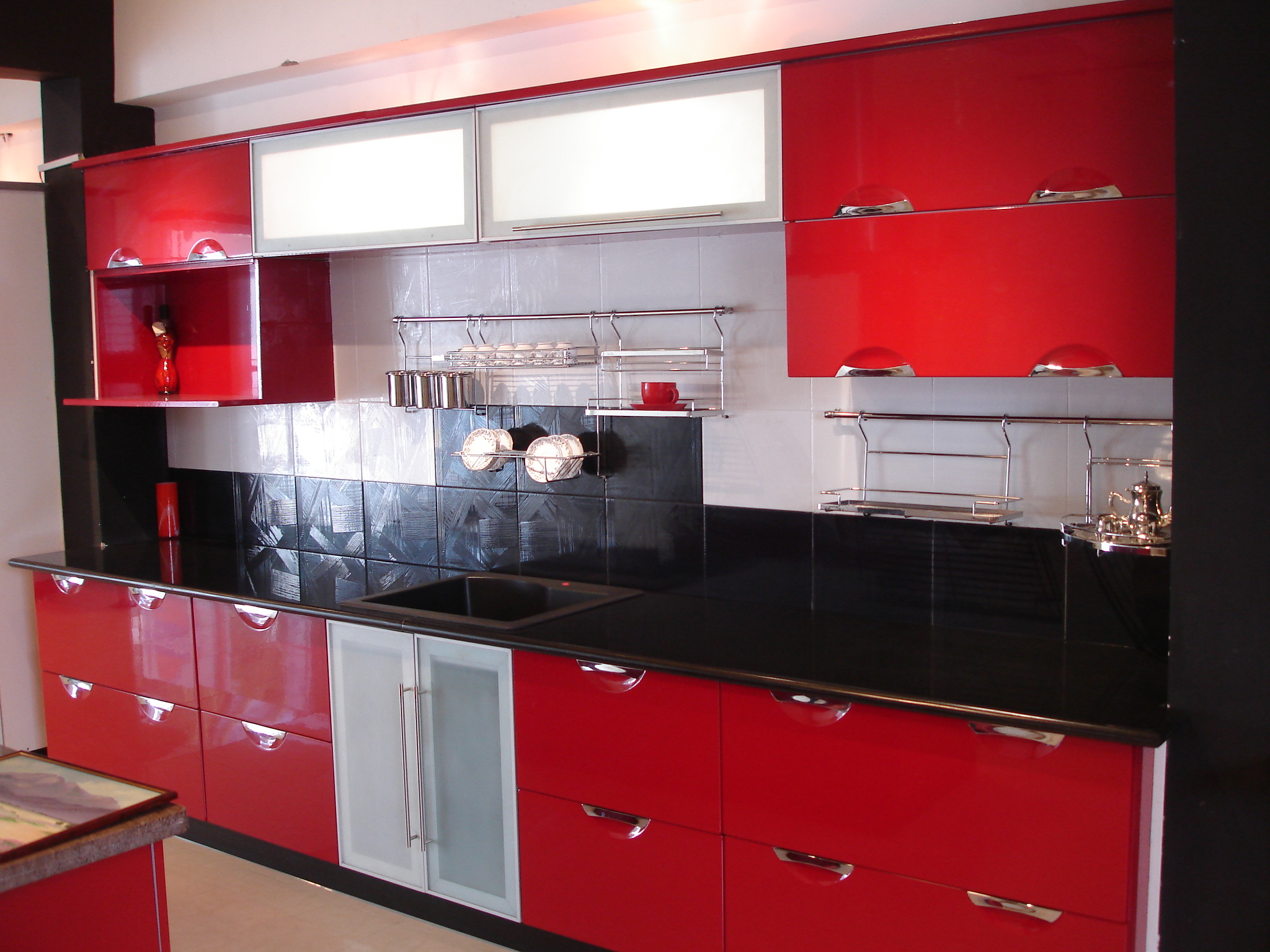 Modern Indian Red Kitchen Cabinets (Image 5 of 10)