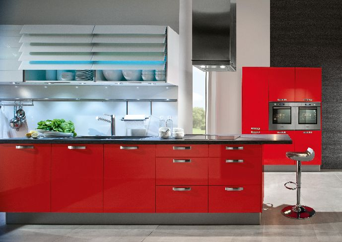 Modern Red Kitchen Cabinet (Image 6 of 10)