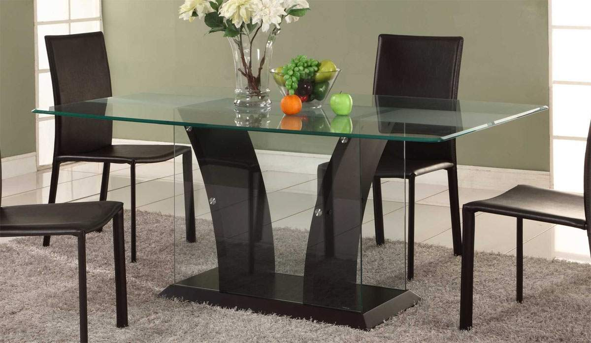 Modern Contemporary Glass Wood Dining Tables (Image 13 of 19)