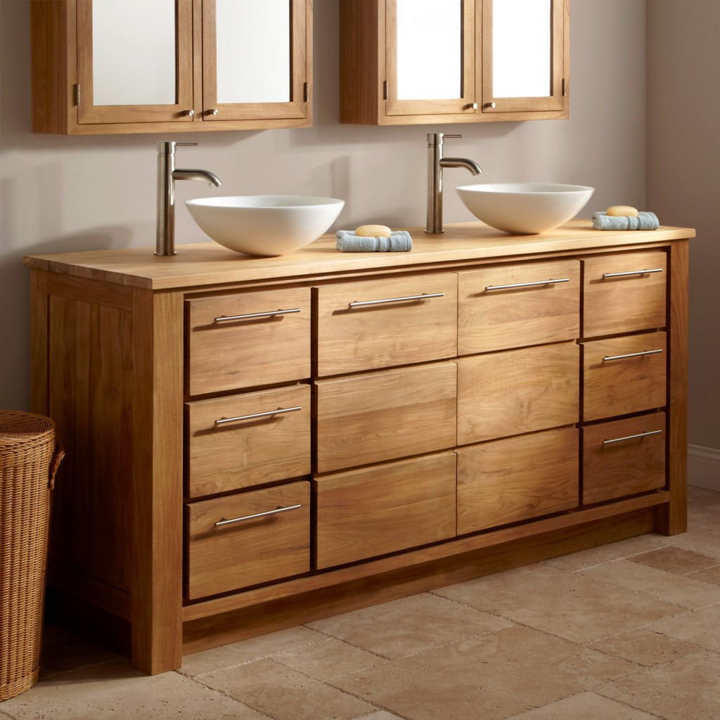 Natural Wooden Bathroom Vanity Furniture (Image 13 of 17)