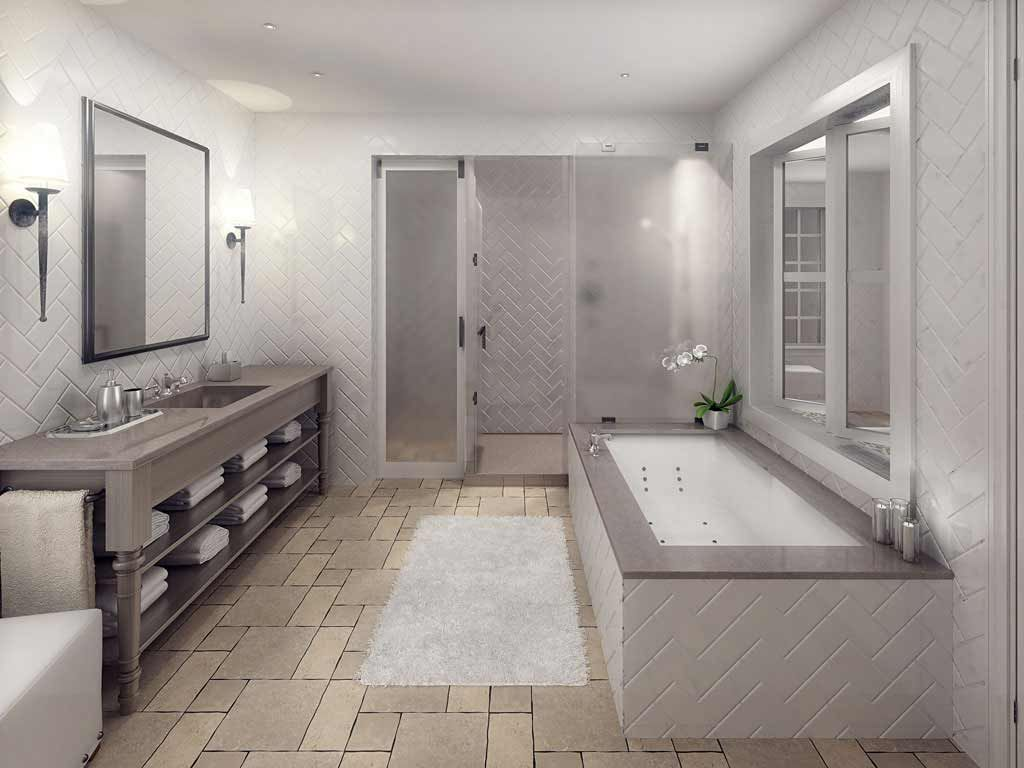Natural stone tile floor in gray bathroom