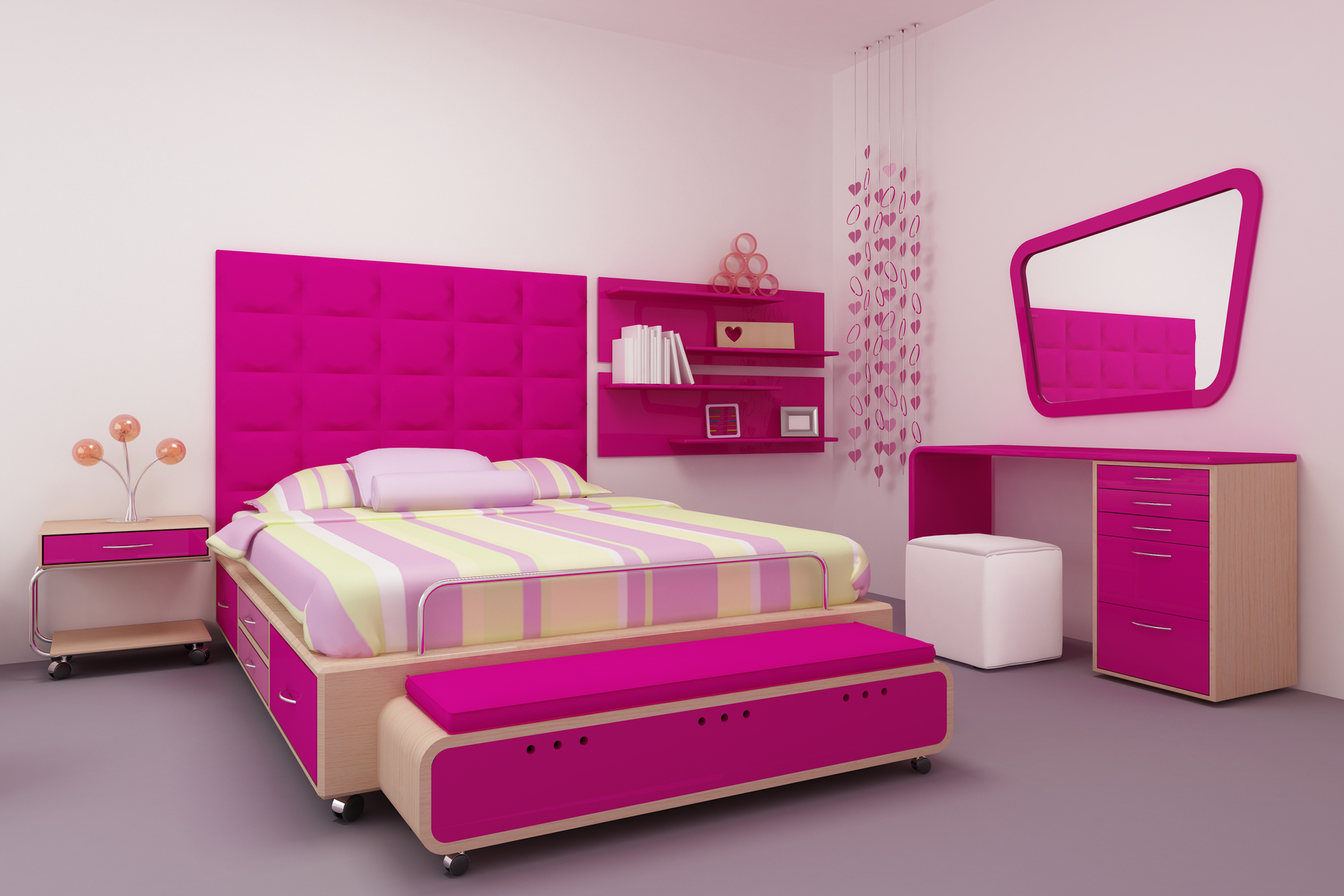 Pink Bedroom Styles for Girls with Dressing Room