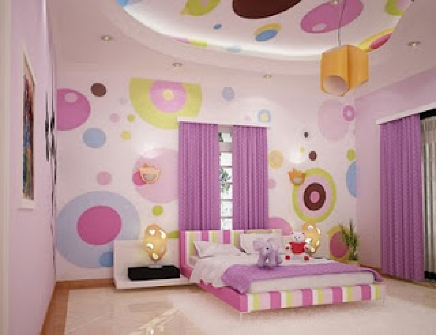 Polcadote Purple Girl Bedroom Design (Image 7 of 10)
