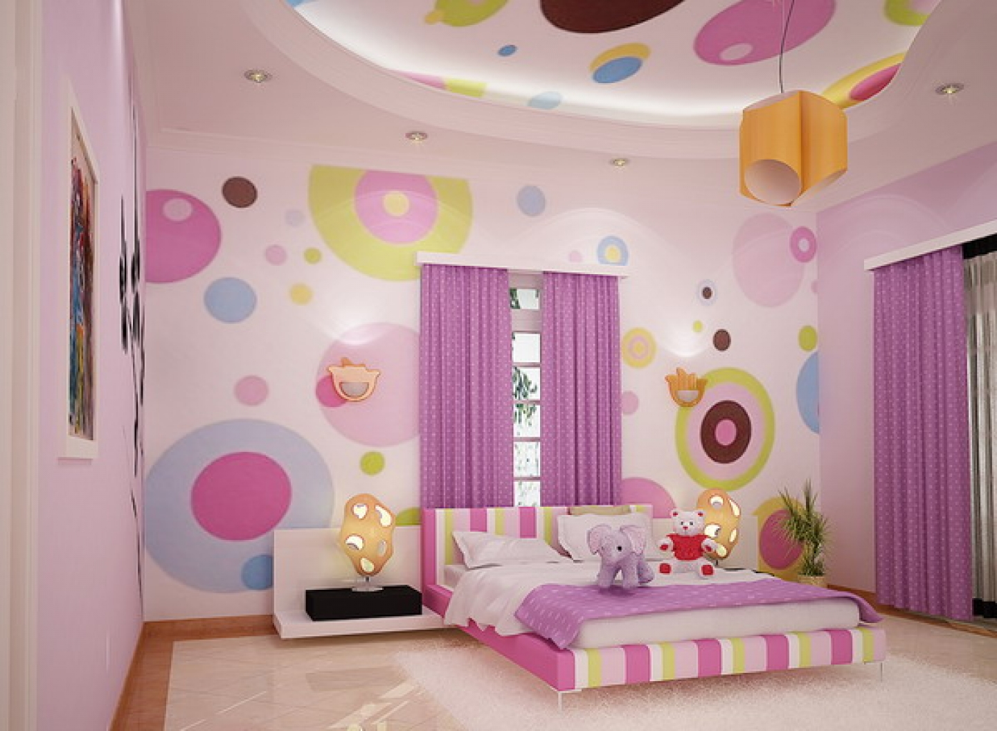 Polka Dots Wallpaper Bedroom Design