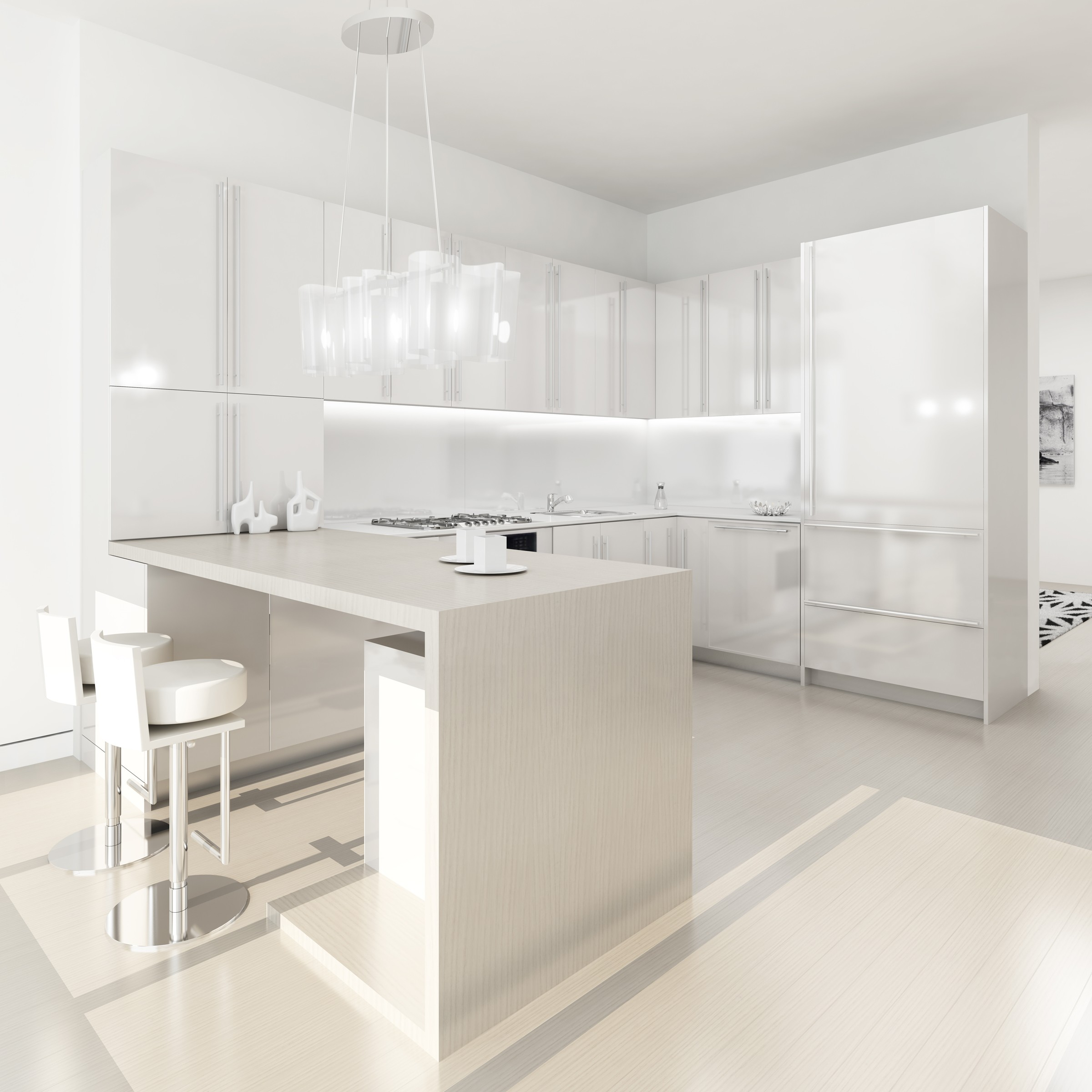 Pure White Basic Kitchen Design