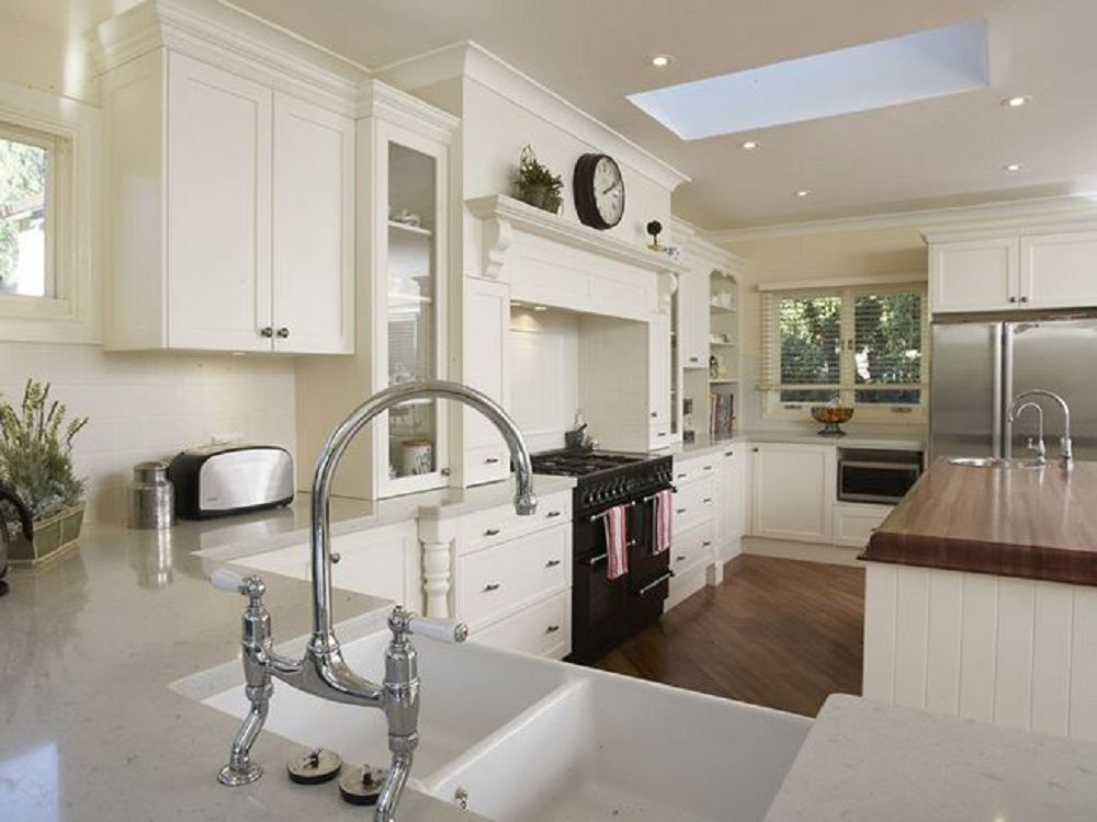 Pure White Kitchen With Wooden Floor
