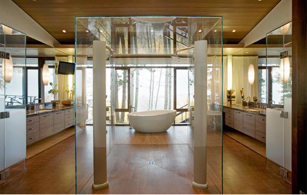 Purple Bathroom with Modern Glass Shower