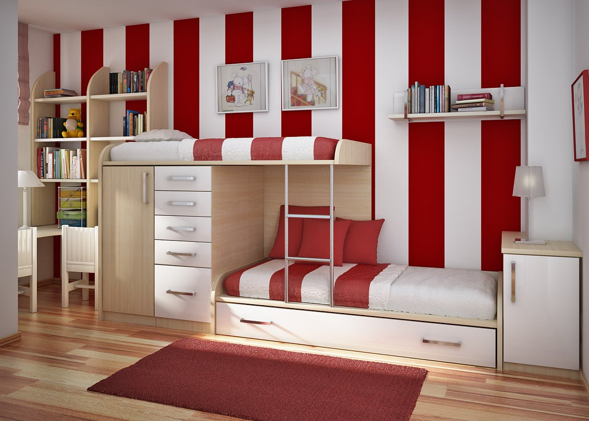 Red And White Cross Kids Bedroom Design