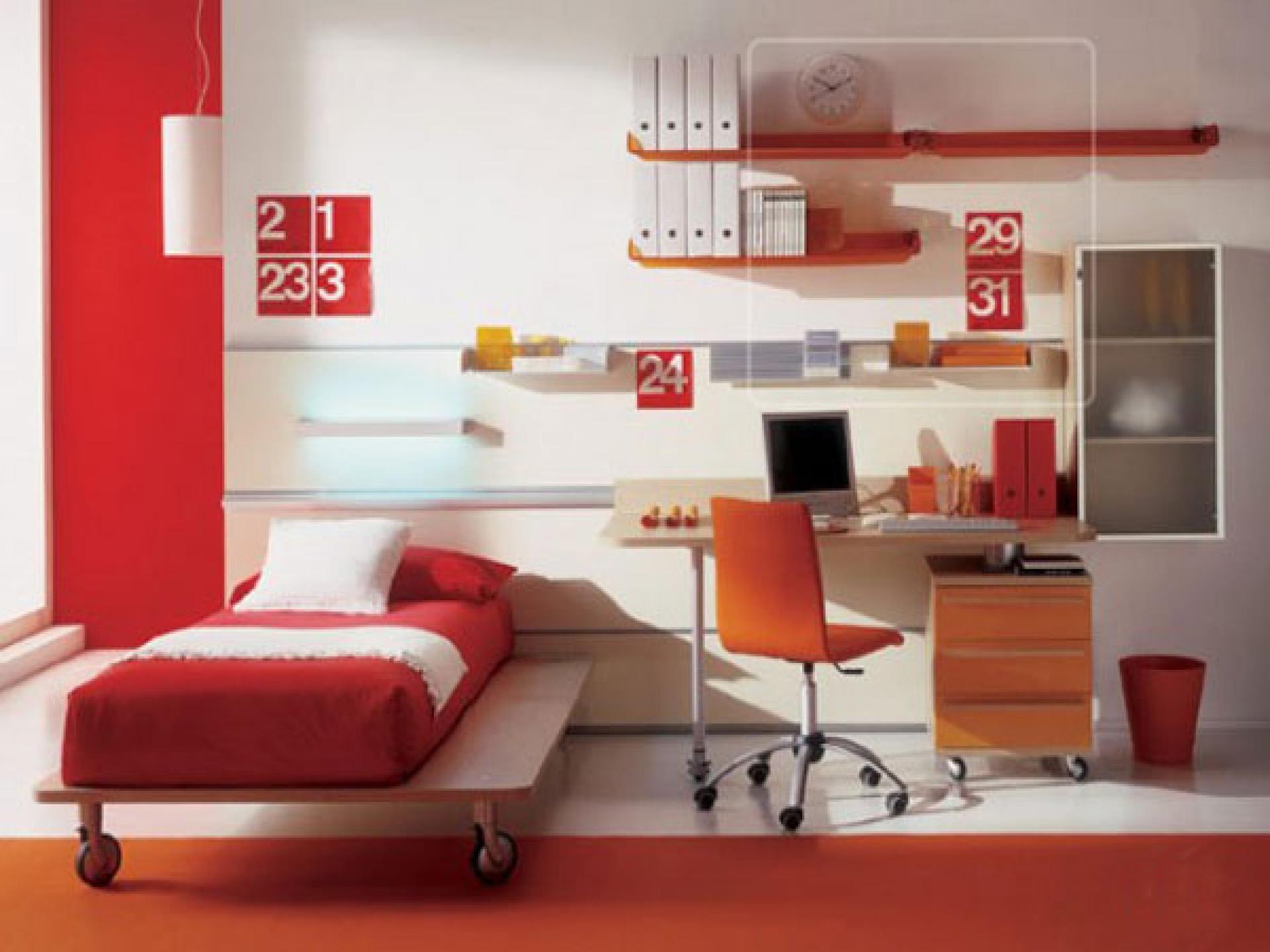 Red Bedroom Children Minimalist 2014