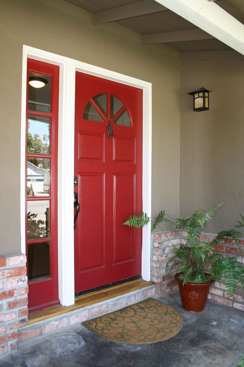 Red Painting Exterior Door