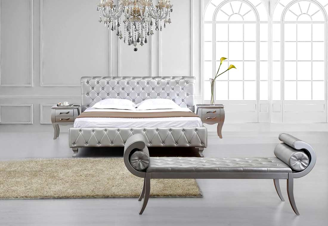 Siver Modern Bed (Image 10 of 10)