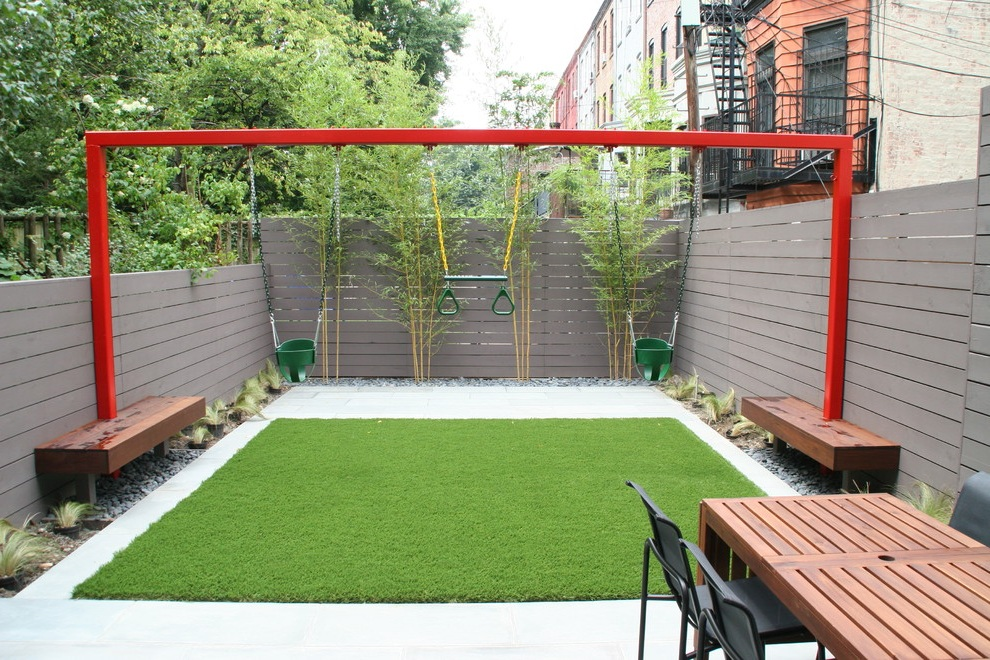 small backyard with kids play area image 6 of 6 - Backyard Garden Ideas For Kids
