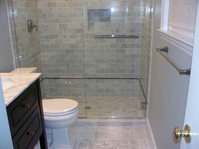 Small Bath Ideas With Wall Tile Gray