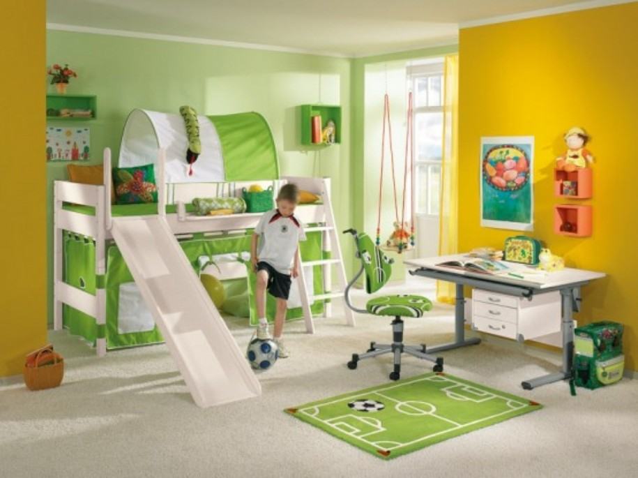 Soccer Theme Bedroom Children Minimalist 2014