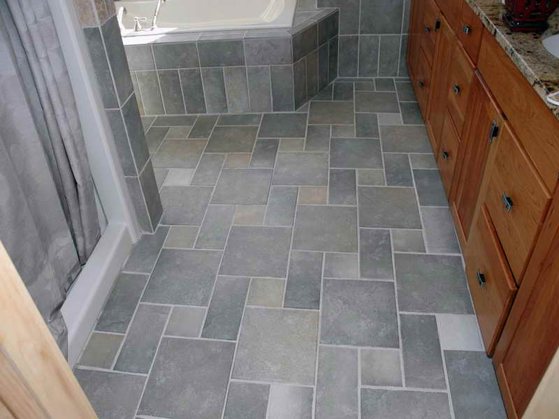 Stone Floor Tiles Jura Gray In Bathroom (Image 13 of 15)