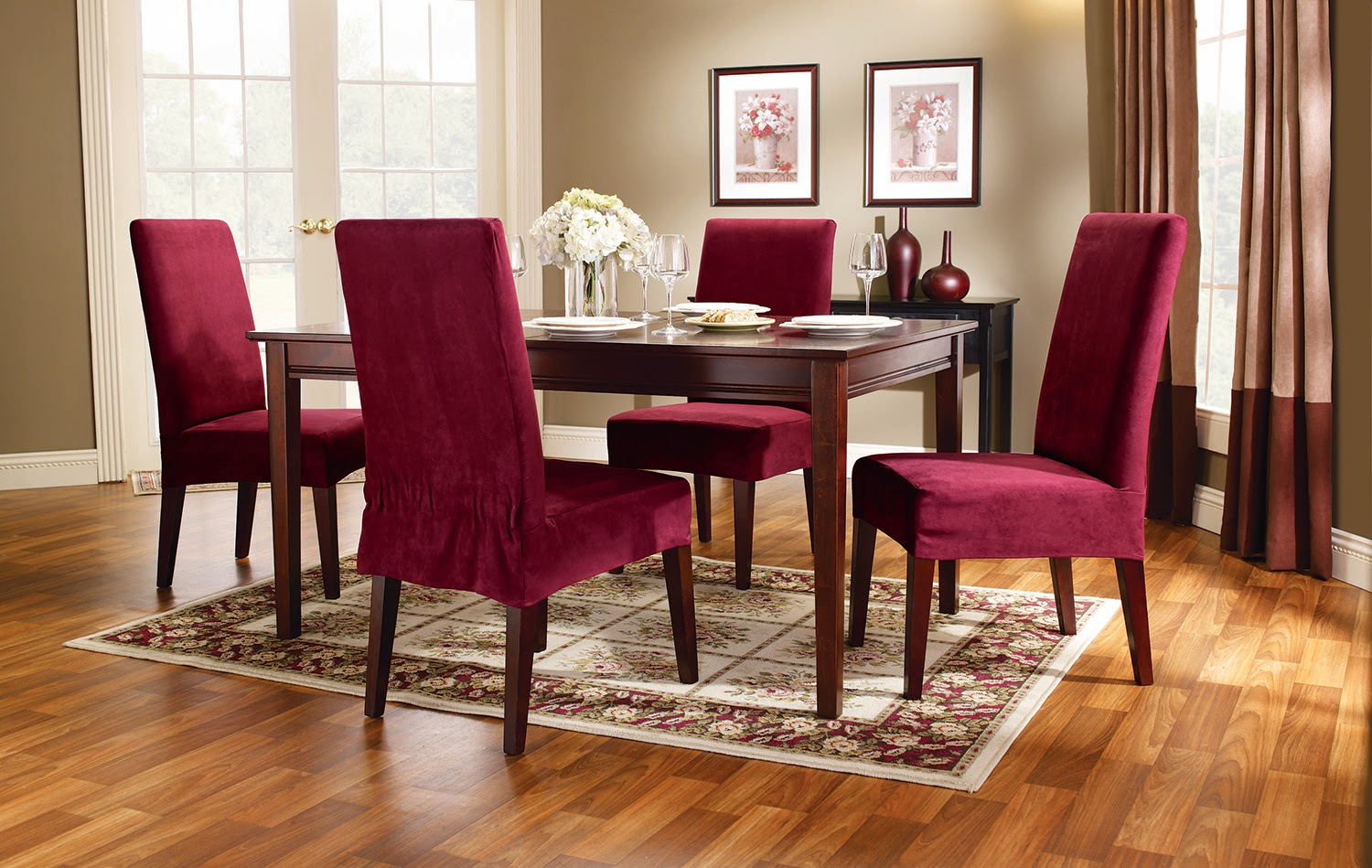 Beautiful sure fit dining room chair slipcovers images for Dining room chair covers