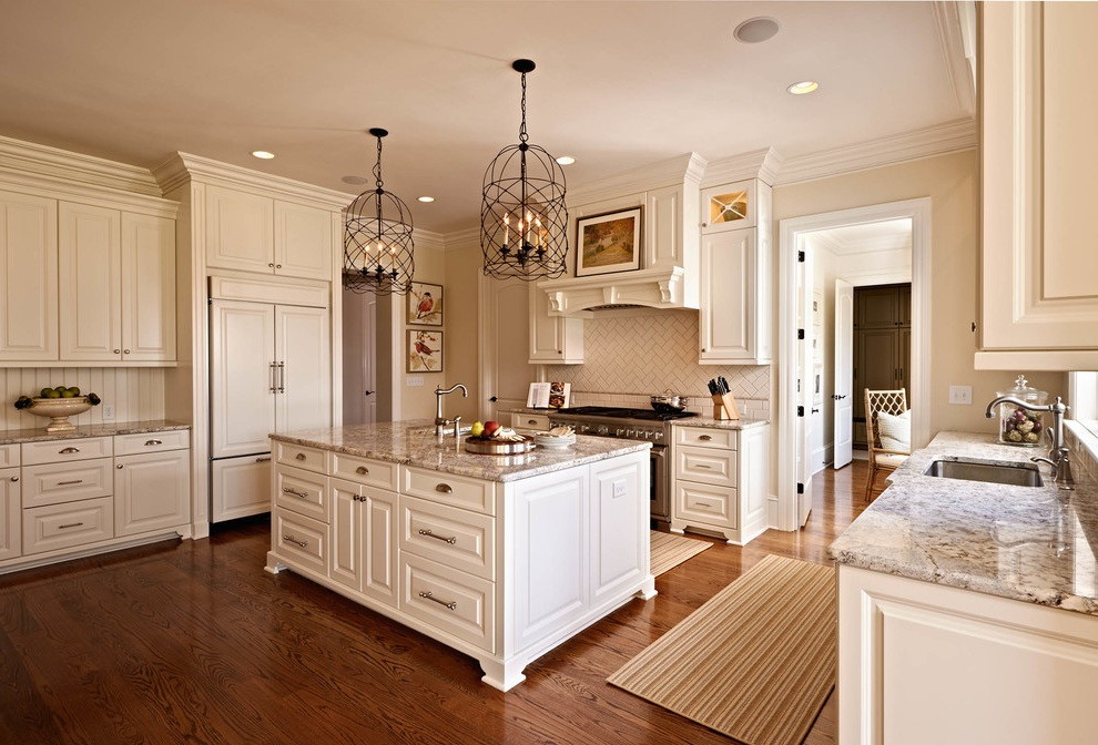 Traditional Kitchen with Elegant Rug
