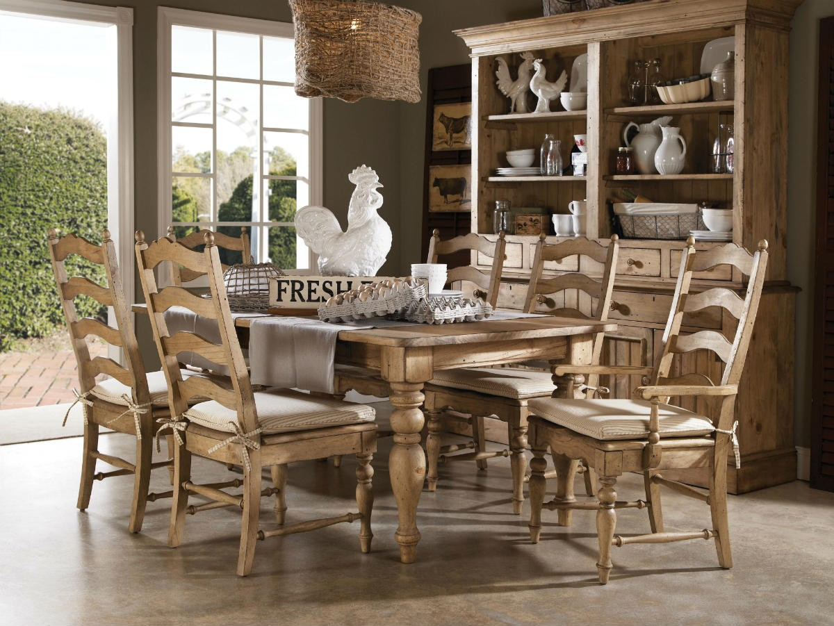 Unique Wooden Farmhouse Dining Table Set With Wooden Chairs (Image 9 of 10)