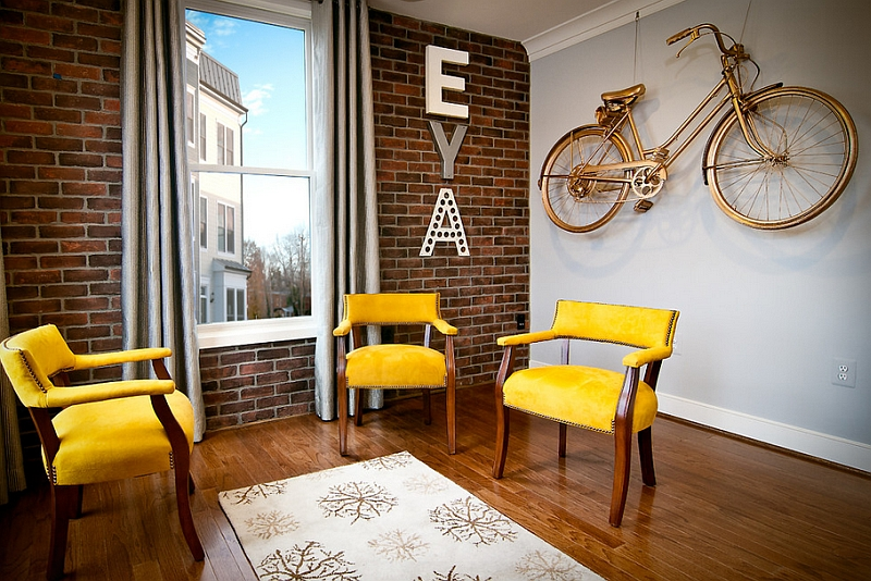 Vintage Wall Mounted Bike Painted In Gold In Living Room Ideas (View 10 of 11)