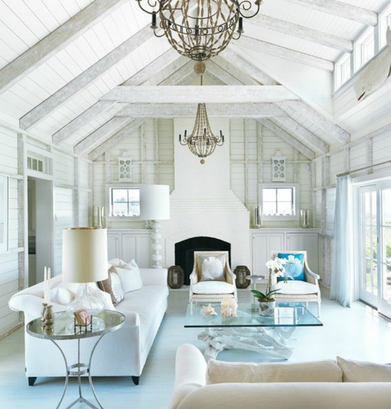 White Chandelier In Living Room (Image 9 of 10)