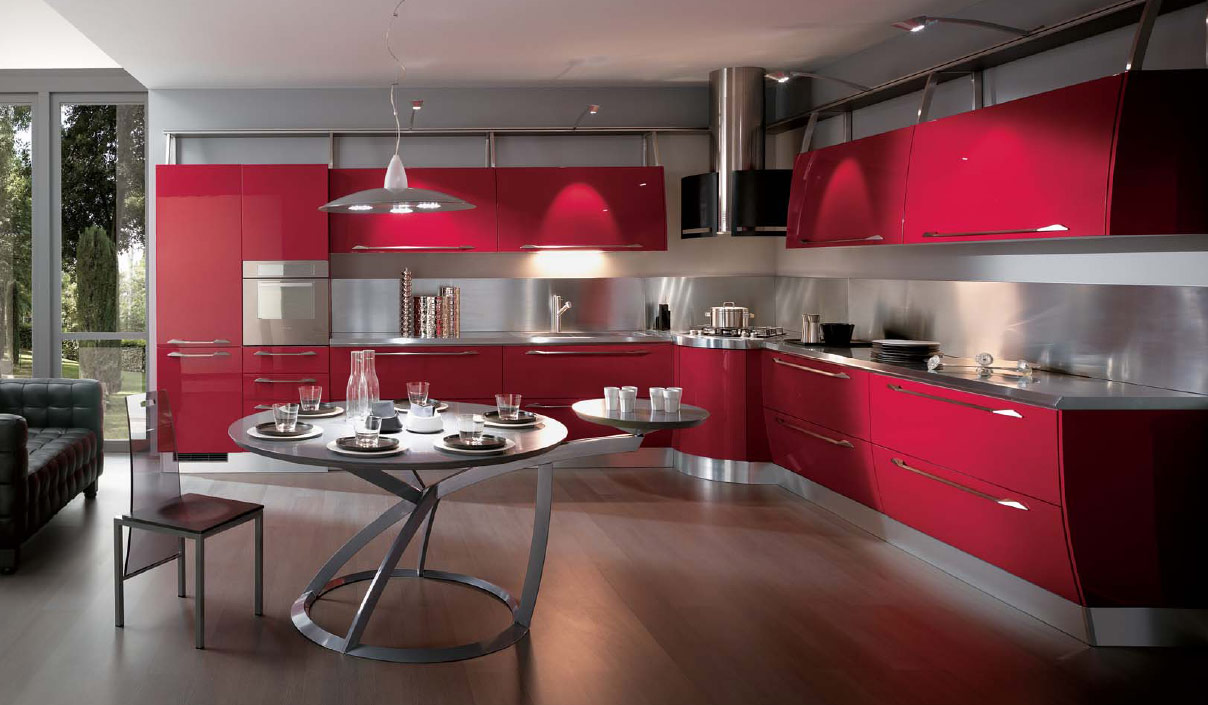 expensive red kitchen design