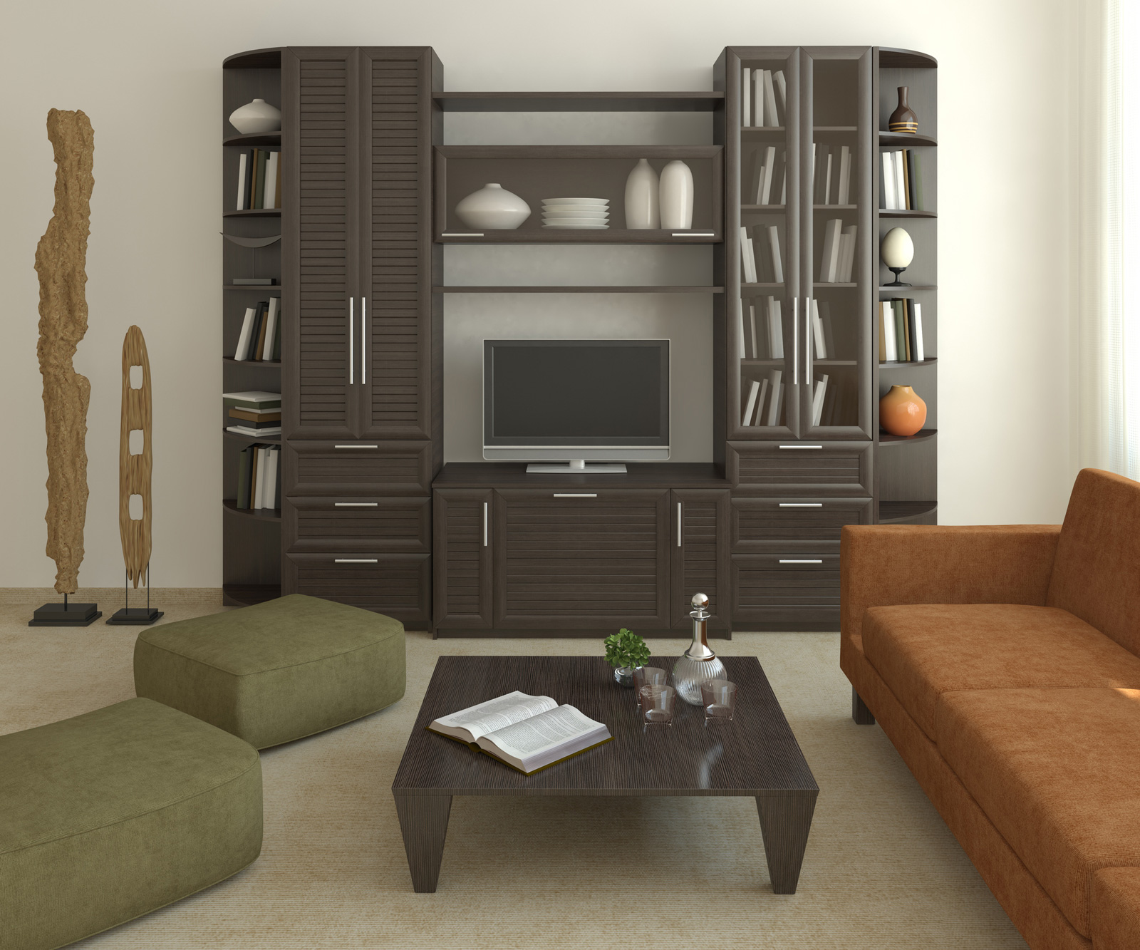 living room bookshelves and cabinets