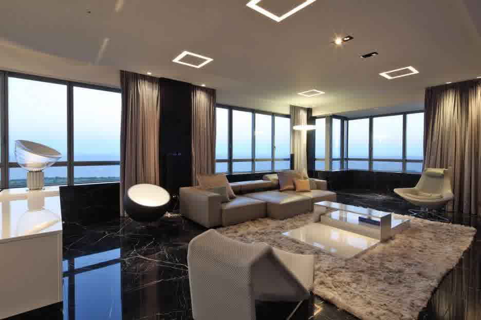 living room with black marble floor
