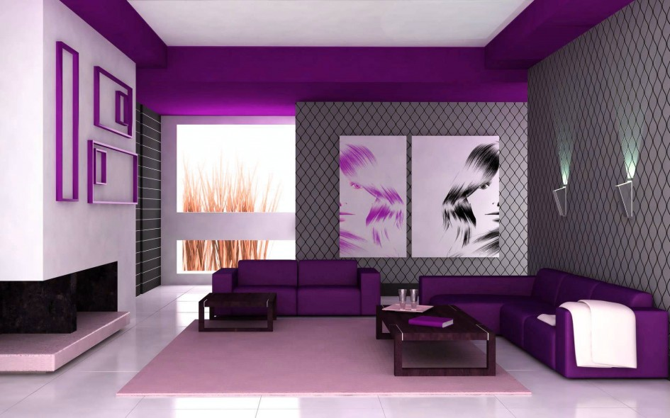 Purple Living Room Design (Image 10 of 10)
