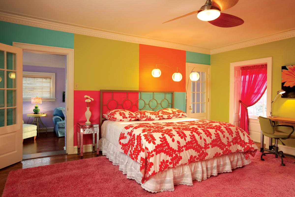 Beautiful Bed Room Energetic Orange Home Decor